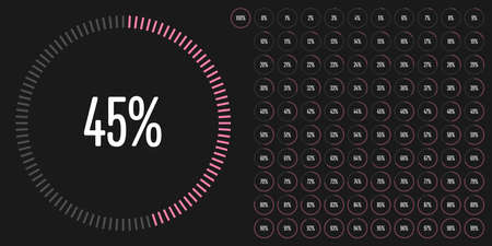 progression: Set of circle percentage diagrams from 0 to 100 ready-to-use for web design, user interface (UI) or infographic Illustration