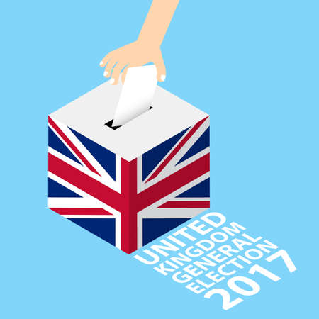 United Kingdom General Election 2017 Vector Illustration Flat Style - Hand Putting Voting Paper in the Ballot Box