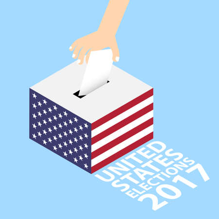 United States Elections 2017 Vector Illustration Flat Style - Hand Putting Voting Paper in the Ballot Box