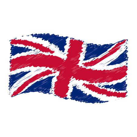 UK flag - Union Jack - grunge pencil drawing sketching isolated vector illustration