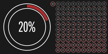 Set of circle percentage diagrams from to 100 ready-to-use for web design, user interface (UI) or infographic - indicator with red