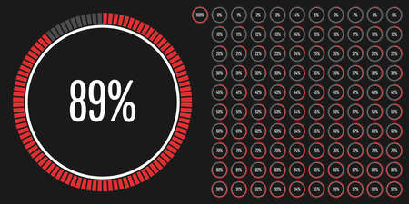 progression: Set of circle percentage diagrams from 0 to 100 ready-to-use for web design, user interface (UI) or infographic - indicator with red Illustration