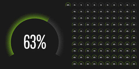 progression: Set of circular sector percentage diagrams from 0 to 100 ready-to-use for web design, user interface (UI) or infographic - indicator with green