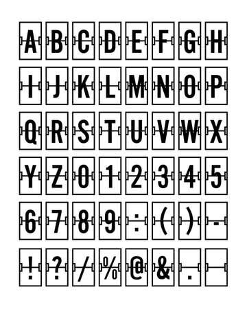 Airport Mechanical Flip Board Panel Font Vector Illustration - Black Vector Illustration