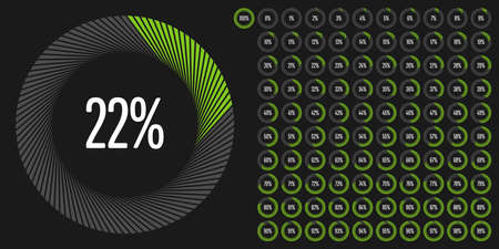 Set of circle percentage diagrams from to 100 ready-to-use for web design, user interface (UI) or infographic - indicator with green