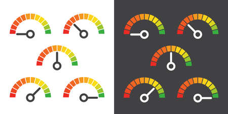 dashboard: Meter signs infographic gauge element from red to green vector illustration