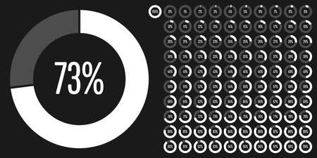 Set of circle percentage diagrams from 0 to 100 ready-to-use for web design, user interface (UI) or infographic - indicator with white