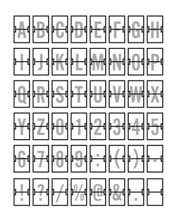 Luchthaven mechanische Flip Board Panel lettertype vectorillustratie - grijs