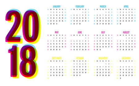 calendario julio: 2018 Calendar Vector Illustration Simple Clear Week Start from Sunday