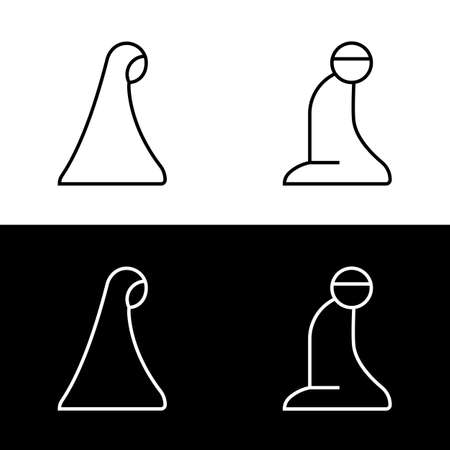 Muslim man and woman making a supplication while sitting on a praying rug. Silhouette icons