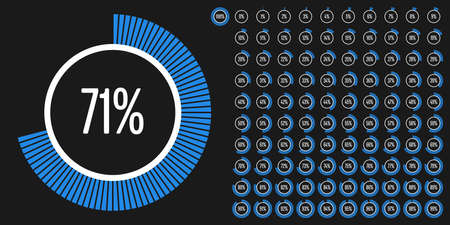 Set of circle percentage diagrams from 0 to 100 ready-to-use for web design, user interface (UI) or infographic - indicator with blue Ilustração
