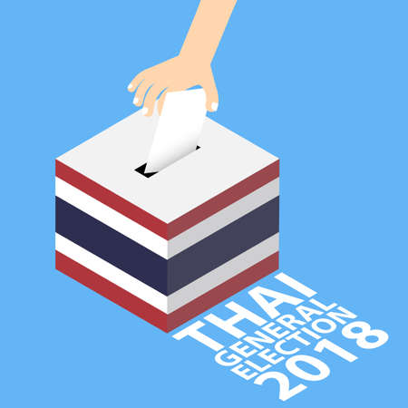 Thai General Election 2018 Vector Illustration Flat Style - Hand Putting Voting Paper in the Ballot Box Illustration