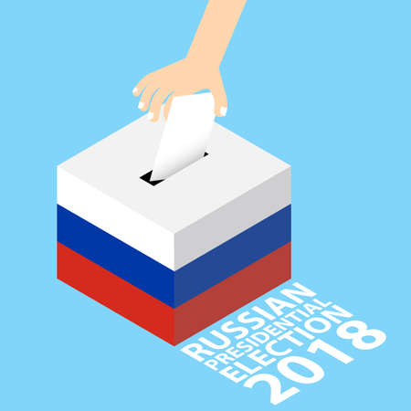Russian Presidential election 2018 vector illustration flat style hand putting voting paper in the ballot box.