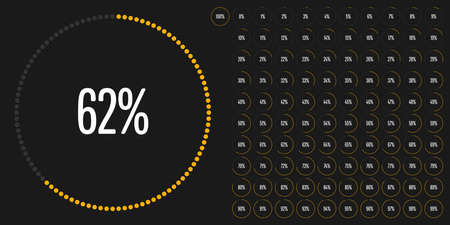 Set of circle percentage diagrams from 0 to 100 ready-to-use for web design, user interface or info graphic. Stock fotó - 92557822