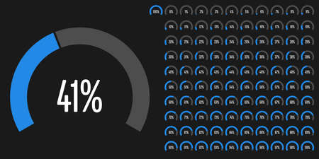 Set of circular sector percentage diagrams from to 100 ready-to-use for web design, user interface or info graphic.