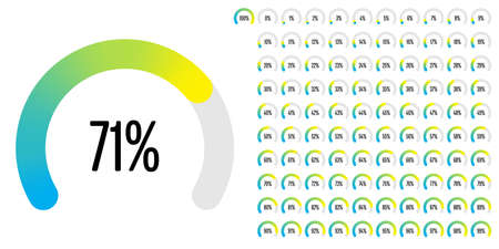 Set of circular sector percentage diagrams from 0 to 100 ready-to-use for web design, user interface or info graphic.