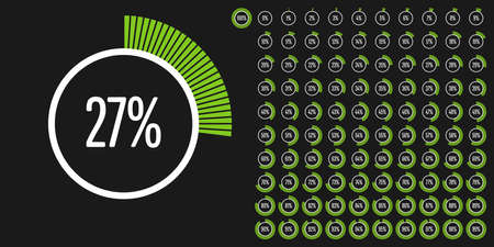 Set of circle percentage diagrams from 0 to 100 ready-to-use for web design, user interface (UI) or infographic - indicator with green Stock fotó - 92884549