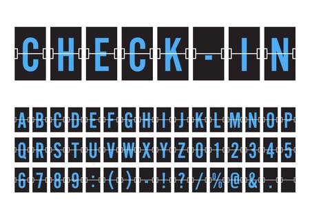 Aeropuerto Mechanical Flip Table Panel Font - Fuente azul sobre fondo oscuro Vector Illustration