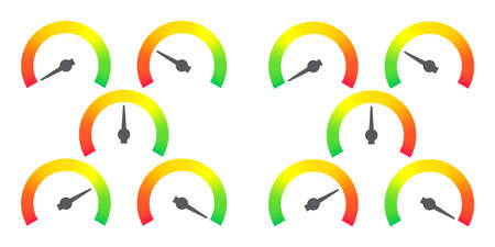 Meter signs infographic gauge element from red to green and green to red vector illustration Vector Illustration