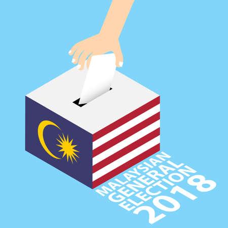Maleisische algemene verkiezingen 2018 Vector Illustratie vlakke stijl - Hand Stempapier in de stembus zetten Stock Illustratie