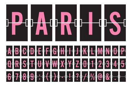 Aeroporto mecânico Flip Board painel fonte - fonte rosa na ilustração vetorial de fundo escuro
