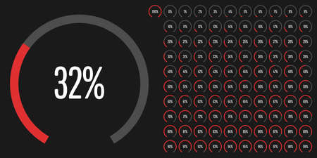 Set of circular sector percentage diagrams from 0 to 100 ready-to-use for web design, user interface (UI) or infographic - indicator with red. Stock fotó - 95368089