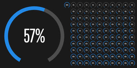 Set of circular sector percentage diagrams from to 100 ready-to-use for web design, user interface (UI) or info-graphic - indicator with blue.