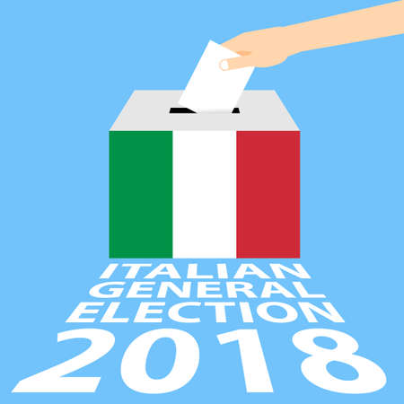 Italian General Election 2018 Vector Illustration Flat Style - Hand Putting Voting Paper in the Ballot Box