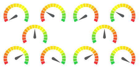 Meter signs infographic gauge element from red to green and green to red vector illustration