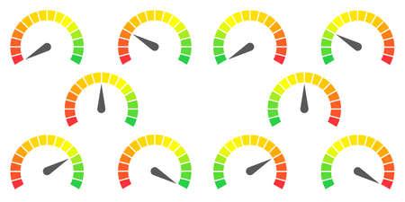 signes de compteur de vitesse de localisation de rouge à rouge et vert à vert illustration vectorielle