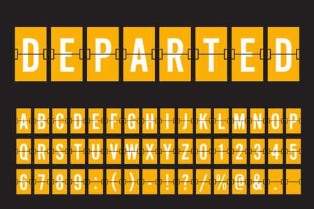 Fuente de panel de tablero mecánico Flip Airport - Fuente blanca sobre fondo amarillo Ilustración vectorial