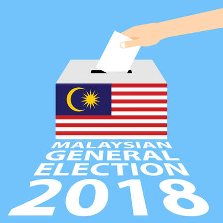 Malaysian General Elections 2018 Vector Illustration Flat Style - Hand Putting Voting Paper in the Ballot Box. Vettoriali