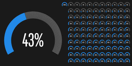 Set of circular sector percentage diagrams from to 100 ready-to-use for web design, user interface (UI) or infographic - indicator with blue