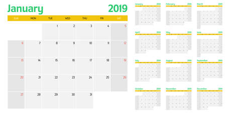 Calendar planner 2019 image illustration