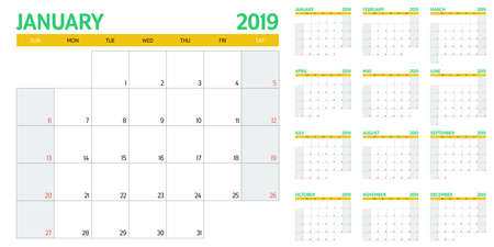 Calendar planner 2019 template vector illustration all 12 months week starts on Sunday and indicate weekends on Saturday and Sunday Illustration
