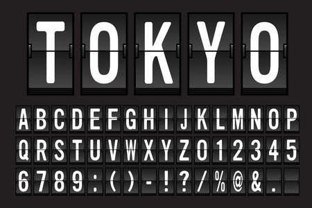 Lettertype van luchthaven het Mechanische Flip Board Panel - Wit Doopvont op Donkere Vectorillustratie Als achtergrond