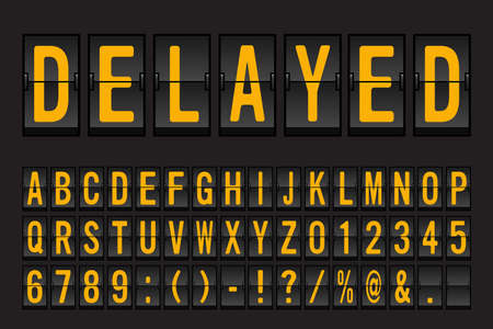 Lettertype van luchthaven het Mechanische Flip Board Panel - Geel Doopvont op Donkere Vectorillustratie Als achtergrond