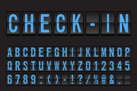 Airport Mechanical Flip Board Panel Font - Blue Font on Dark Background Vector Illustration