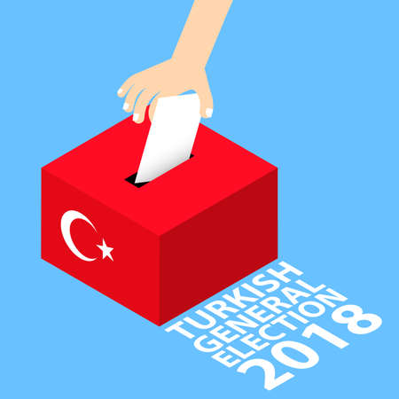 Turkish General Elections 2018 Vector Illustration Flat Style - Hand Putting Voting Paper in the Ballot Box