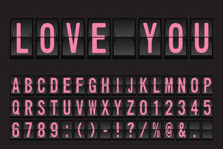 Airport Mechanical Flip Board Panel Font - Pink Font on Dark Background Vector Illustration Ilustracje wektorowe