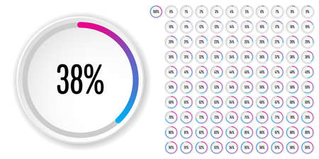 Set of circle percentage diagrams from to 100 ready-to-use for web design, user interface (UI) or infographic - indicator with gradient from magenta (hot pink) to cyan (blue)