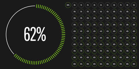 Set of circle percentage diagrams from 0 to 100 ready-to-use for web design, user interface (UI) or infographic - indicator with green Illusztráció