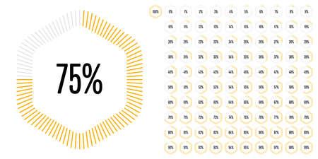 Conjunto de diagramas de porcentaje hexagonal de hasta 100 listos para usar para diseño web, interfaz de usuario (UI) o infografía: indicador con amarillo