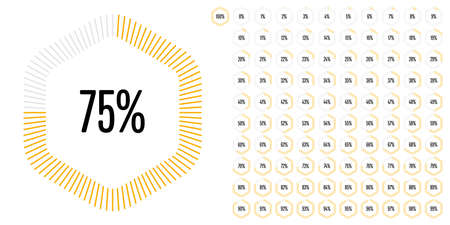 Set of hexagon percentage diagrams from 0 to 100 ready-to-use for web design, user interface (UI) or infographic - indicator with yellow