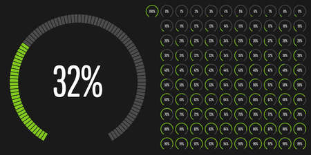 Set of circular sector percentage diagrams from 0 to 100 ready-to-use for web design, user interface (UI) or infographic - indicator with green