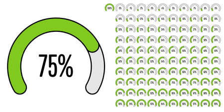 Set of circular sector percentage diagrams from to 100 ready-to-use for web design, user interface (UI) or infographic - indicator with green