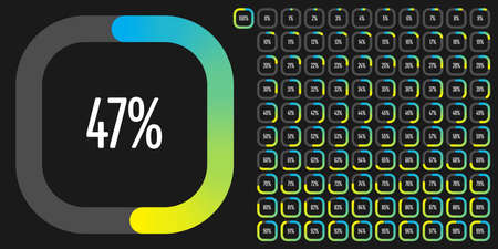 Set of rectangle percentage diagrams from 0 to 100 ready-to-use for web design, user interface (UI) or infographic - indicator with gradient from cyan (blue) to yellow Ilustração
