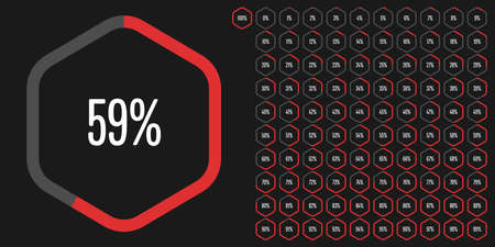 Set of hexagon percentage diagrams from 0 to 100 ready-to-use for web design, user interface (UI) or infographic - indicator with red