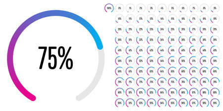 Set of circular sector percentage diagrams from 0 to 100 ready-to-use for web design, user interface (UI) or infographic - indicator with gradient from magenta (hot pink) to cyan (blue)