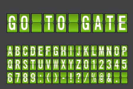 Airport Mechanical Flip Board Panel Font - White Font on Green Background Vector Illustration Ilustrace
